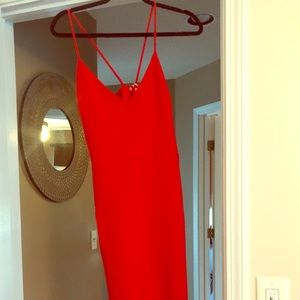Brooklyn Red midi dress with front slit by likely